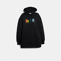 ELONGATED HOODIE WITH RAINBOW HORSE AND CARRIAGE PRINT - F79706 - BLACK