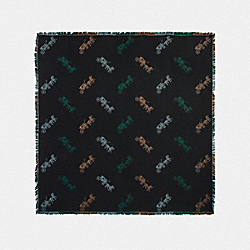 COACH F79746 Horse And Carriage Plaid Print Jacquard Oversized Square Scarf BLACK