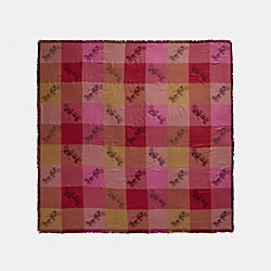 COACH F79746 Horse And Carriage Plaid Print Jacquard Oversized Square Scarf RASPBERRY