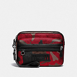 TERRAIN POUCH IN SIGNATURE CANVAS WITH CAMO PRINT - F79776 - QB/OXBLOOD MULTI