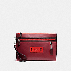 COACH F79780 Carryall Pouch In Colorblock QB/SOFT RED/ HOT RED MULTI