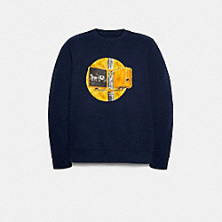 COACH F79785 - SWEATSHIRT WITH COACH TRAFFIC LIGHT NAVY