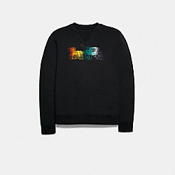 COACH F79786 Sweatshirt With Rainbow Horse And Carriage Print BLACK