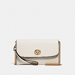 CHAIN CROSSBODY IN SIGNATURE LEATHER - F79788 - CHALK/IMITATION GOLD