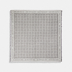 COACH F79792 - SIGNATURE METALLIC JACQUARD OVERSIZED SQUARE SCARF HEATHER GREY