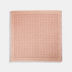 COACH F79792 - SIGNATURE METALLIC JACQUARD OVERSIZED SQUARE SCARF PINK