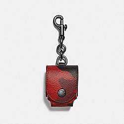 EARBUD CASE BAG CHARM IN SIGNATURE CANVAS WITH CAMO PRINT - F79794QBFCG - QB/OXBLOOD MULTI