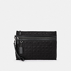 COACH F79811 Carryall Pouch With Signature Quilting QB/BLACK