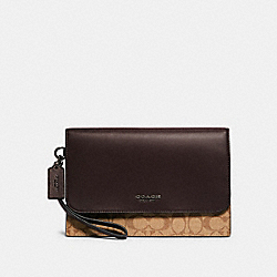 GRAHAM POUCH IN COLORBLOCK SIGNATURE CANVAS - F79813 - QB/TAN OXBLOOD