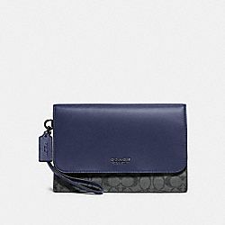 COACH F79813 - GRAHAM POUCH IN COLORBLOCK SIGNATURE CANVAS QB/CHARCOAL CADET