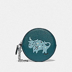 COACH F79866 Round Coin Case With Taurus SV/DEEP OCEAN