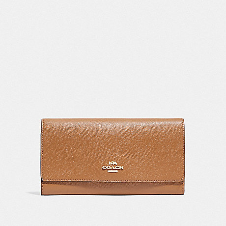 COACH F79868 TRIFOLD WALLET IM/LIGHT SADDLE