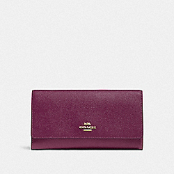 COACH F79868 - TRIFOLD WALLET IM/DARK BERRY