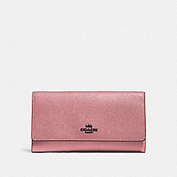 COACH F79868 Trifold Wallet QB/METALLIC DARK BLUSH