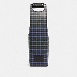 WINE CARRIER WITH TINY CLASSIC PLAID PRINT - F79870 - QB/NAVY