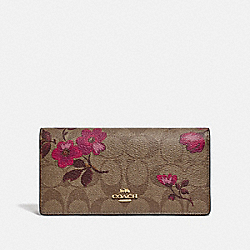 BIFOLD WALLET IN SIGNATURE CANVAS WITH VICTORIAN FLORAL PRINT - F79871 - IM/KHAKI BERRY MULTI
