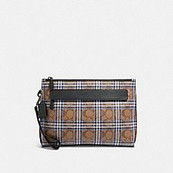 COACH F79875 Carryall Pouch In Signature Canvas With Shirting Plaid Print QB/KHAKI BLUE