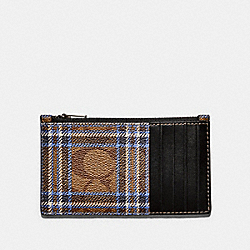 ZIP CARD CASE IN SIGNATURE CANVAS WITH SHIRTING PLAID PRINT - F79876 - QB/KHAKI BLUE