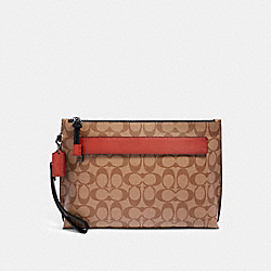 CARRYALL POUCH IN COLORBLOCK SIGNATURE CANVAS - F79877 - QB/TAN TERRACOTTA