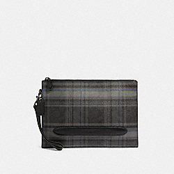 COACH F79879 Structured Pouch In Signature Canvas With Grace Plaid Print SV/BLACK GREY
