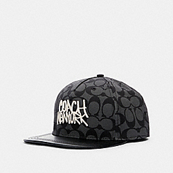 COACH F79885 Flat Brim Hat BLACK/GREY