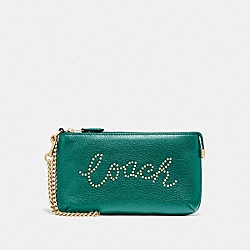 COACH F79890 - LARGE WRISTLET WITH STUDDED COACH SCRIPT IM/VIRIDIAN