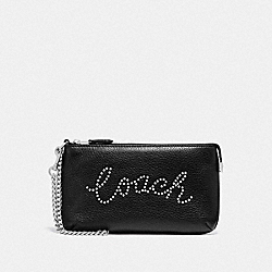 COACH F79890 - LARGE WRISTLET WITH STUDDED COACH SCRIPT SV/BLACK