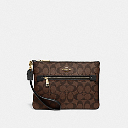 COACH F79896 Gallery Pouch In Signature Canvas IM/BROWN/BLACK