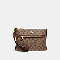 COACH F79896 Gallery Pouch In Signature Canvas IM/KHAKI/SADDLE 2