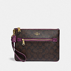COACH F79896 Gallery Pouch In Signature Canvas IM/BROWN METALLIC BERRY