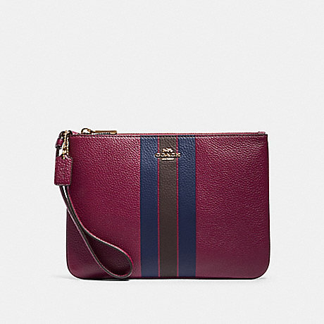 COACH F79898 JES GALLERY POUCH WITH VARSITY STRIPE IM/DARK-BERRY-MULTI