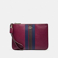 COACH F79898 - JES GALLERY POUCH WITH VARSITY STRIPE IM/DARK BERRY MULTI
