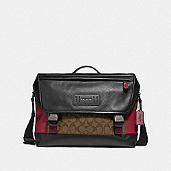 COACH F79904 - RANGER MESSENGER IN COLORBLOCK SIGNATURE CANVAS QB/TAN SOFT RED
