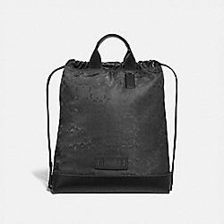 COACH F79909 - TERRAIN DRAWSTRING BACKPACK IN SIGNATURE JACQUARD QB/BLACK