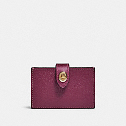 COACH F79918 Accordion Card Case IM/DARK BERRY/METALLIC BERRY