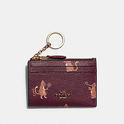 COACH F79928 - MINI SKINNY ID CASE WITH PARTY CAT PRINT IM/DARK BERRY MULTI