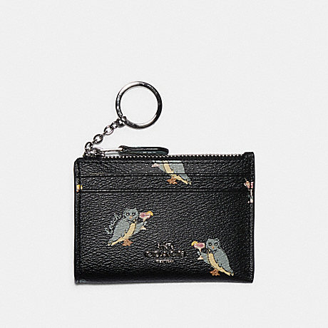 COACH F79929 MINI SKINNY ID CASE WITH PARTY OWL PRINT SV/BLACK-MULTI
