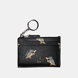 MINI SKINNY ID CASE WITH PARTY OWL PRINT - F79929 - SV/BLACK MULTI
