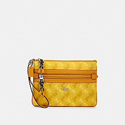 COACH F79944 - GALLERY POUCH WITH HORSE AND CARRIAGE PRINT SV/YELLOW MULTI