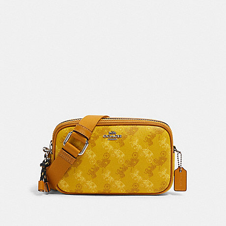 COACH CROSSBODY POUCH WITH HORSE AND CARRIAGE PRINT - SV/YELLOW MULTI - F79952