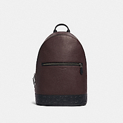 WEST SLIM BACKPACK WITH SIGNATURE LEATHER DETAIL - F79961 - QB/OXBLOOD MULTI