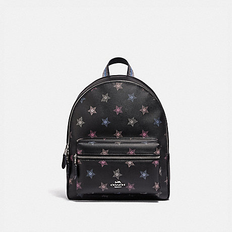 COACH F79964 MEDIUM CHARLIE BACKPACK WITH DOT STAR PRINT SV/BLACK-MULTI