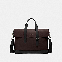 COACH F79966 - HAMILTON PORTFOLIO BRIEF WITH SIGNATURE LEATHER DETAIL QB/OXBLOOD MULTI