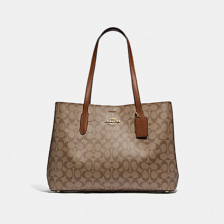 COACH F79987 LARGE AVENUE CARRYALL IN SIGNATURE CANVAS IM/KHAKI/SADDLE-2