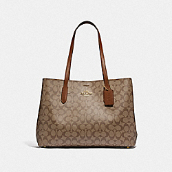 LARGE AVENUE CARRYALL IN SIGNATURE CANVAS - F79987 - IM/KHAKI/SADDLE 2