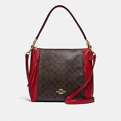 COACH F79993 MARLON HOBO IN SIGNATURE CANVAS IM/BROWN-TRUE-RED