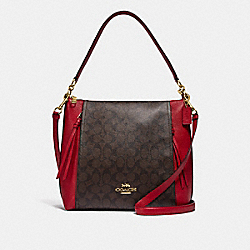 COACH F79993 - MARLON HOBO IN SIGNATURE CANVAS IM/BROWN TRUE RED