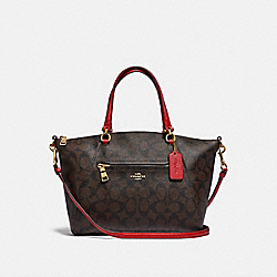 PRAIRIE SATCHEL IN SIGNATURE CANVAS - F79998 - IM/BROWN TRUE RED