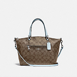PRAIRIE SATCHEL IN SIGNATURE CANVAS - F79998 - SV/KHAKI PALE BLUE