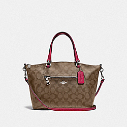 COACH F79998 - PRAIRIE SATCHEL IN SIGNATURE CANVAS SV/KHAKI DARK FUCHSIA